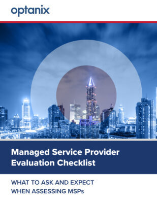 """Cover image for download """"Managed Service Provider Evaluation Checklist; What to Ask and Expect When Assessing MSPs"""""""