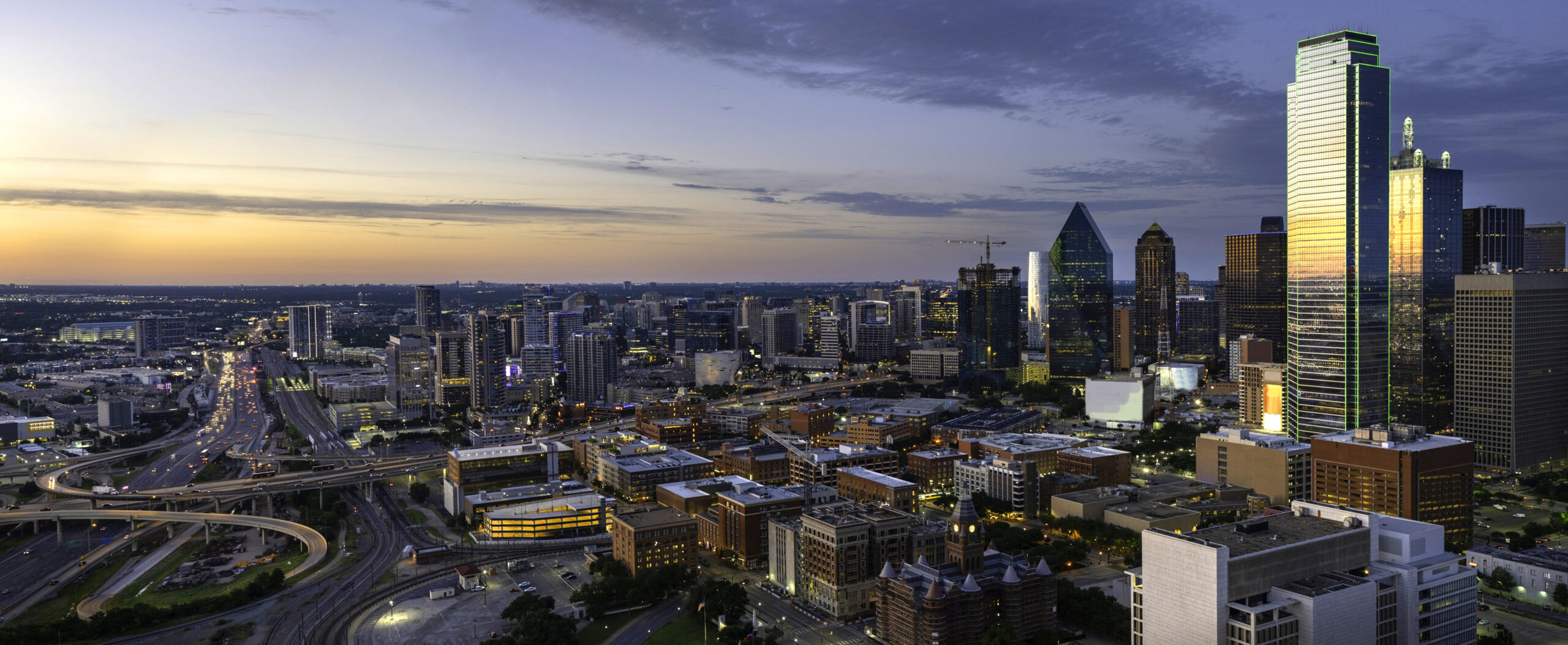 Dallas Texas evening skyline panorama