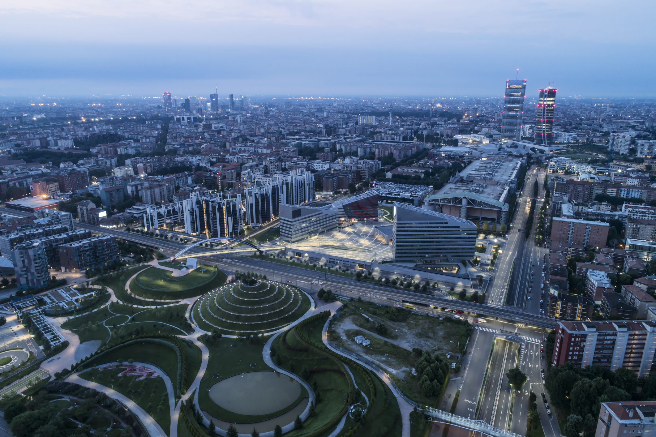 Aerial view of Milan